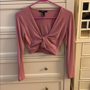 Forever 21 pink long sleeve crop top